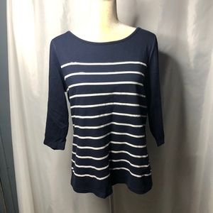 Christopher & Banks navy & white striped top L